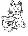 disegno da colorare di gattino che gioca per bambini..disegno gatto da colorare..micetto da colorare..micia da colorare