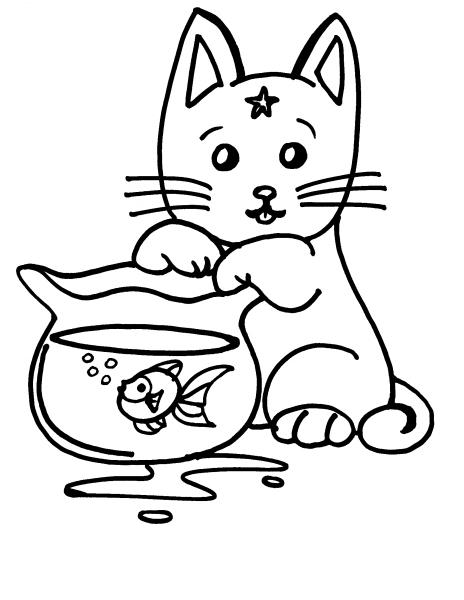 Disegno da colorare di gattino che gioca per bambini for Gatto da colorare per bambini