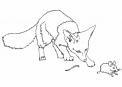 disegno volpe da colorare per bambini..disegno volpacchiotto da colorare..disegno volpe che caccia nel bosco da colorare..disegno volpino da colorare..volpe e topo da colorare
