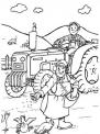 disegno trattore da colorare per bambini..disegno trattore che semina da colorare..trattore che lavora la terra con contadino da colorare..rullo da colorare