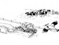 disegno trattore da colorare..disegno trattore che lavora la terra con aratro da colorare..disegno trattore in fattoria da colorare