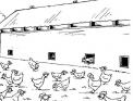 disegno di un pollaio da colorare..disegno di pollaio in fattoria da colorare..pollaio per galline da colorare