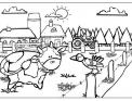 disegno di trattore in fattoria con animali da colorare..disegno trattore in campagna da colorare..disegno mietitrebbia da colorare