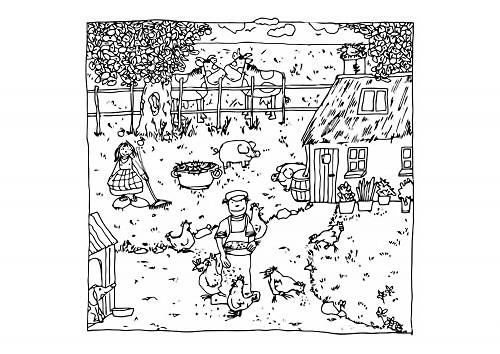 Disegno della fattoria da colorare disegno abitanti della for Disegno della fattoria americana