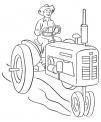 disegno trattore in fattoria da colorare..disegno trattore con seminatrice da colorare..disegno trattore con carro da colorare