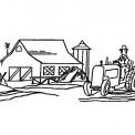 disegno attrezzi agricoli da colorare..disegno trattore nel terreno della fattoria didattica per bambini da colorare