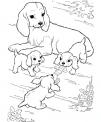 disegno mamma cagna con piccoli cagnolini da colorare..disegno cane e cuccioli in fattoria da colorare