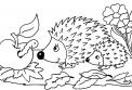 disegno riccio da colorare..disegno porcospino sul prato da colorare..disegno porcellino di terra da colorare