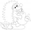 disegno piccolo riccio da colorare..disegno porcospino sul prato in fattoria da colorare per bambini