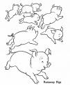 disegno maialini che corrono da colorare..disegno porcellini che giocano da colorare..maialino da colorare