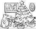 cane sotto l'albero da colorare..cagnolino con regalo da colorare..pastore tedesco da colorare..jack russell da colorare..cucciolo da colorare per bambini
