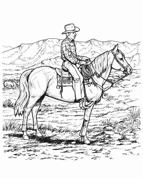 Disegno cow boy sul cavallo da colorare cavallo in - Cowboy foglio da colorare ...