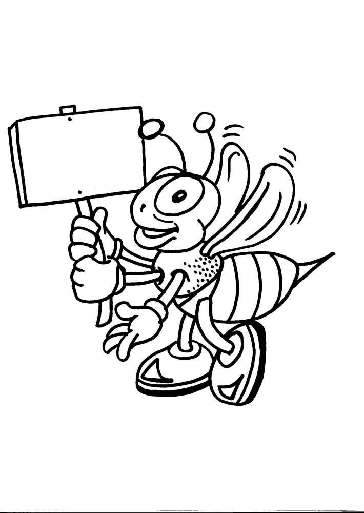 Disegni animali da colorare ape ape regina disegno da for Immagini api per bambini