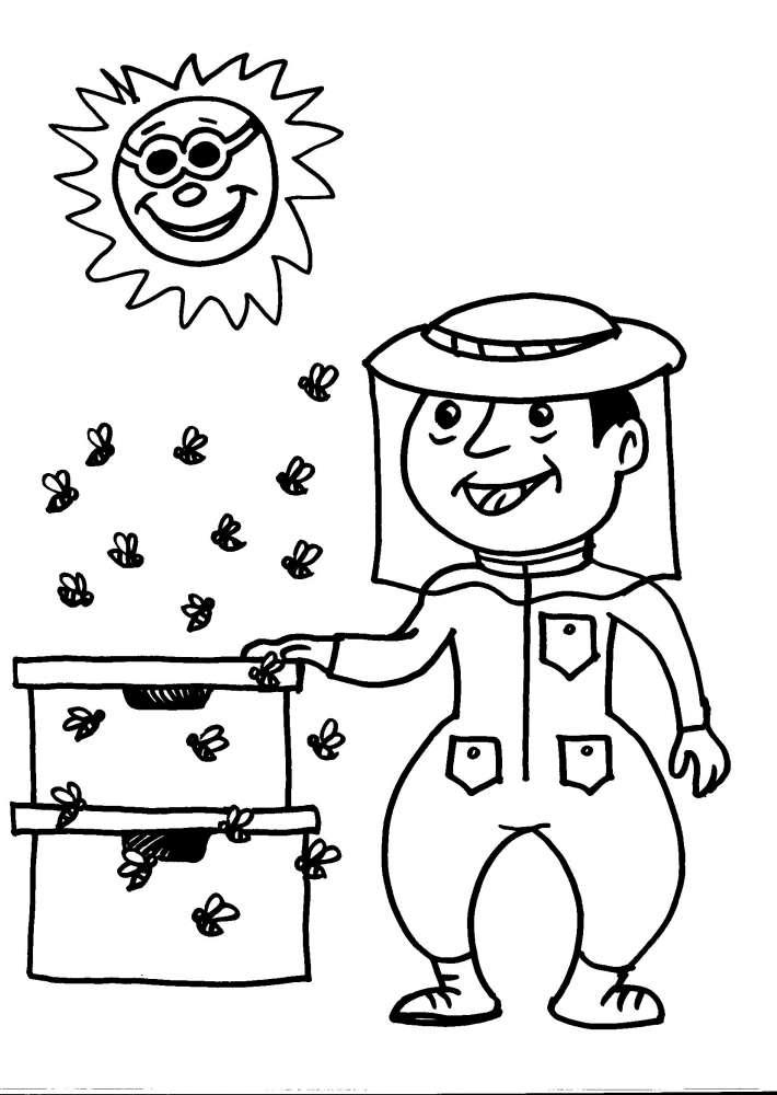 Disegni animali da colorare ape alveare disegno da for Disegni di casa in stile fattoria