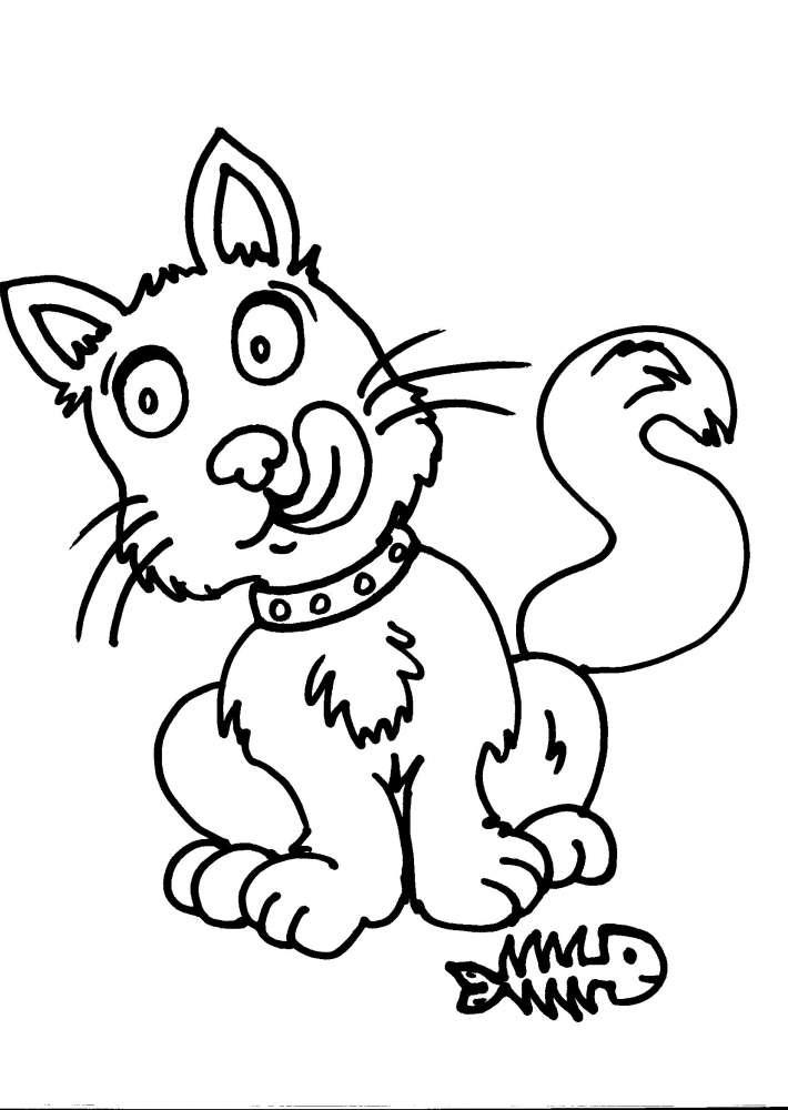 Disegni Da Colorare Per Bambinigatto Gattidisegno Gattino Da