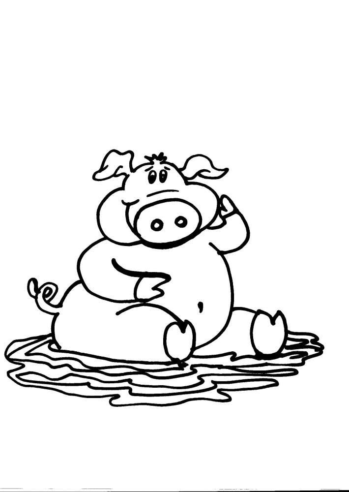 Disegno maialino della fattoria da colorare maiale for Maialino disegno per bambini