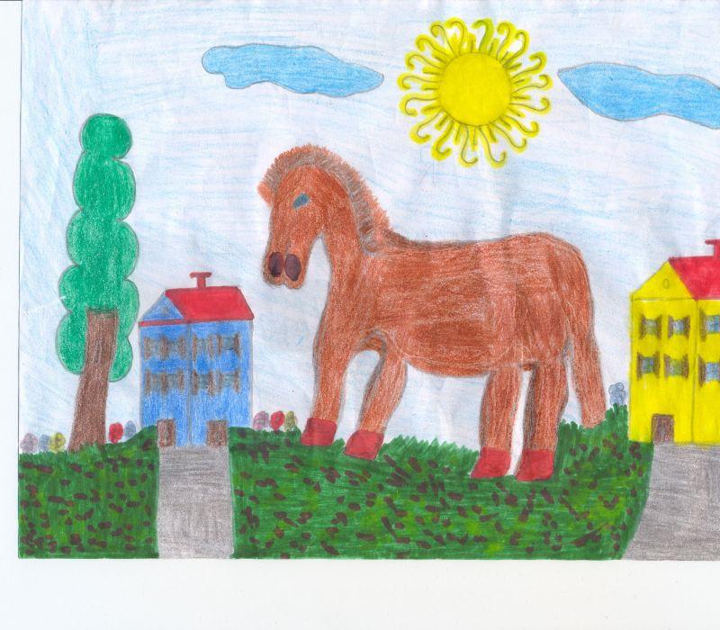 Disegni bambini in agriturismo in fattoria disegno di for Disegno casa bambini