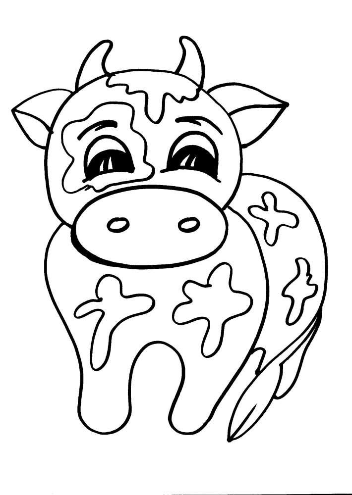 Disegni animali della fattoria da colorare mucca disegno for Fattoria immagini da colorare
